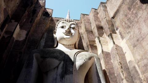 Vertical Pan Down Huge Buddha Statue Footage