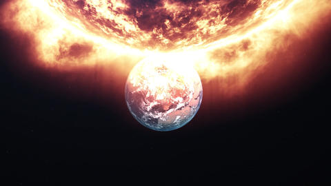 Meteors are attacking Earth. Flying near the sun Live Action