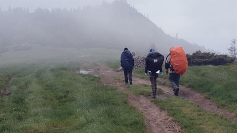 Three mountain climbers go along a country road in the Carpathians in slo-mo Footage