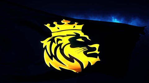 Golden Lion King Flag Intro Logo with Blue Background Animation