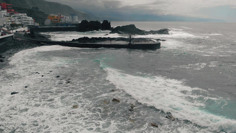 Aerial view of a coastline with waves in Spain, on the Atlantic Ocean on the Footage