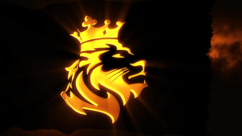 Golden Lion King Flag with Light Rays Intro Logo Motion... Stock Video Footage