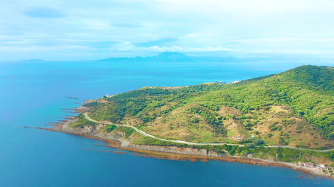 Aerial view. Strait of Gibraltar pass, views of Africa Footage