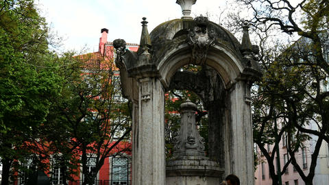 Lisbon square, view of the Largo do Carmo a popular square in the Bairro Alto Live Action
