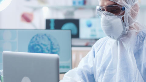 Close up shot of researcher face wearing a protective... Stock Video Footage