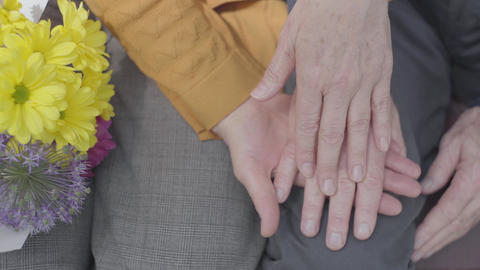 Close-up hands of an old woman holding the hand of old man. Hands of mature Footage