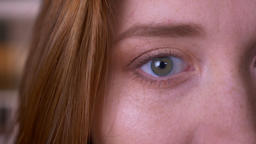Closeup half face portrait of young redhead attractive caucasian female with Footage