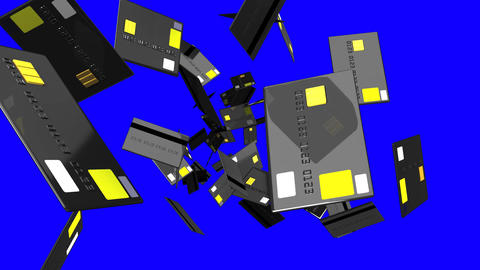 Black Credit cards on blue chroma key Animation
