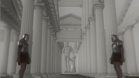 Two Roman Guards Standing Inside a Temple Footage