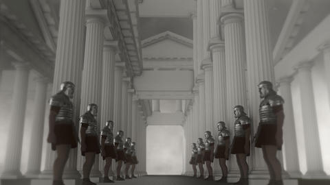 Roman Guards Standing in Line Inside a Palace Footage