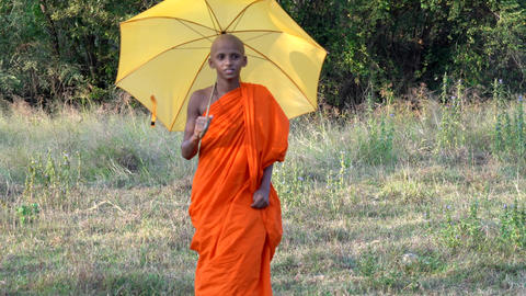 Haberna, Sri Lanka- 2019-03-22 - Young Monk Looks Around as He Walks Across Footage
