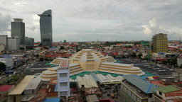 TIMELAPSE Central market and skyline,Phnom Penh,Cambodia Footage