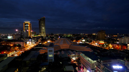 TIMELAPSE Central market and skyline in evening,Phnom Penh,Cambodia Footage