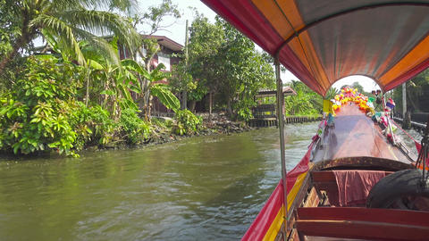 View from the tourist boat in canals of Bangkok Footage