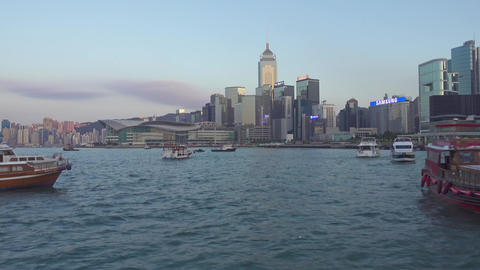 Boats in Victoria Harbour in Hong Kong Footage