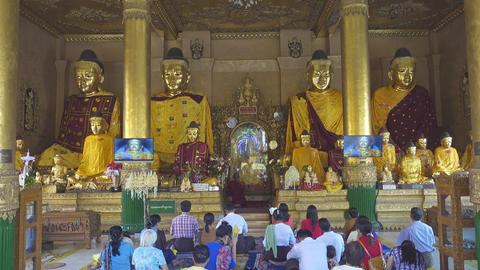 People prays in Shwedagon Pagoda Footage