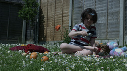 4k Shoot Of A Cute Child Playing With His Toy Airplane Barefoot stock footage