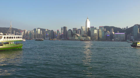 Ferry in Victoria Harbour, Hong Kong Footage