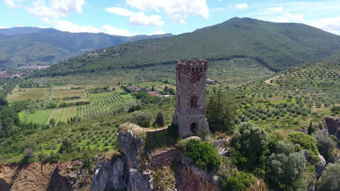 Tower of Caprona – Pisa, Italy. Aerial view Footage