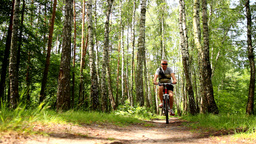 bicycle rides through forest Footage