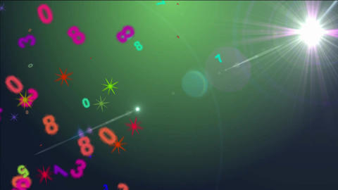 Number colored on flare background Animation
