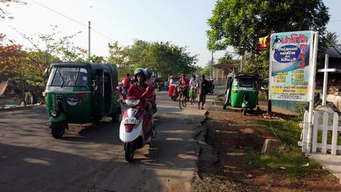 Nogombo, Sri Lanka- 2019-03-22 - Busy Traffic As Old Man Tries To Walk On Side Footage