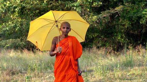 Haberna, Sri Lanka- 2019-03-22 - Young Monk Walks Towards Camera With Yellow Footage