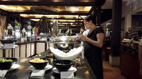 Haberna, Sri Lanka- 2019-03-22 - Buffet Line at Upscale Restaurant Footage