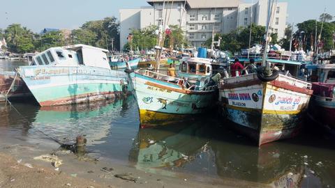 Haberna, Sri Lanka- 2019-03-22 -Fishing Boats Tied Together As Men Prepare to Go Footage