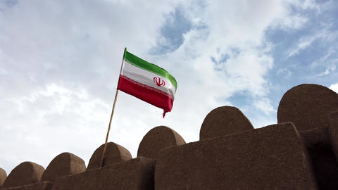 Iranian Flag Flies Over Rayen Castle Footage
