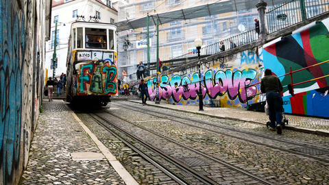 Gloria Funicular in the city center of Lisbon, National Monument in Portugal and Footage