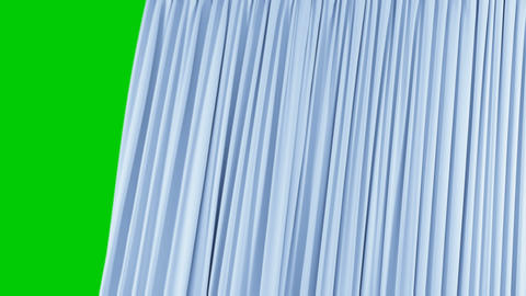 Seamless Single Blue Curtain Opening and Closing. Beautiful Looped 3d Animation Footage