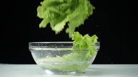Lettuce leaves fall into a cup of water in slow motion. healthy tasty and healthy food Live Action