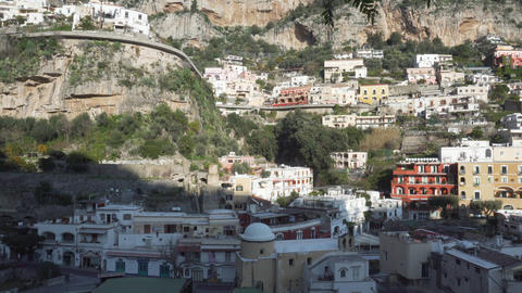 View on Positano town in Italy - Medium shot - Pan Live Action