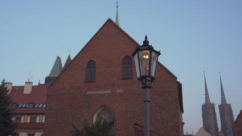 Lantern and old architecture on Ostrow Tumski in Wroclaw Footage