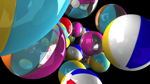 Colorful beach balls on black background Animation