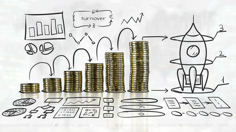Financial growth and startup in hand-drawn infographics Animation