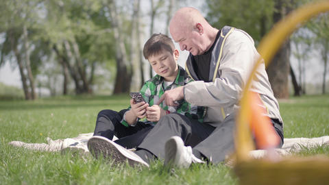 Portrait of cute senior man sitting with his grandson on the blanket in the park Footage