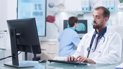 Physician or scientist working in modern research facility Live Action