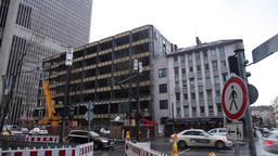 Downtown Frankfurt Street Scene of Architecture and Traffic Footage