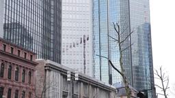 Glass Skyscraper Tower Exteriors in Downtown Frankfurt Footage