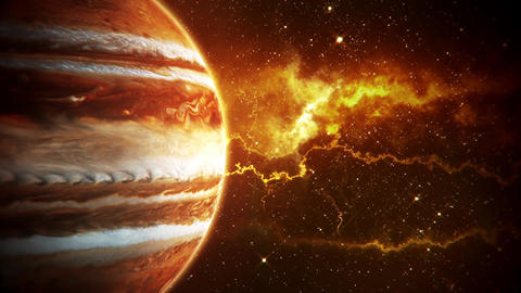 Solar System Planets Jupiter - Space Ambience Loop Motion Background Animation