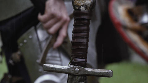 Close up of a medieval sword handle Live Action