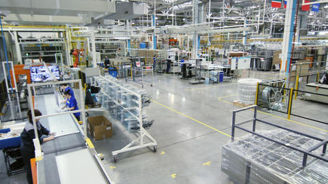 domestic fridges production plant workshop upper view Live Action