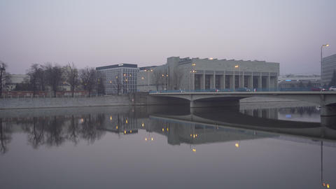 Modern transport bridge in Wroclaw near Ostrow Tumski Footage
