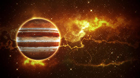 Solar System Planets Jupiter - Space Ambience Loop Motion Background V2 Animation