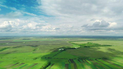 Village and Fields With a Bird's-eye view in Spring Footage