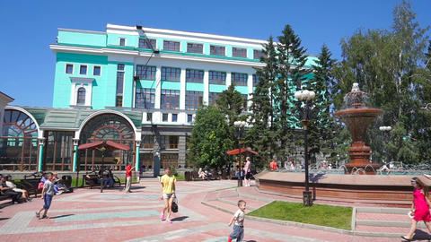 View on railway station building in Novosibirsk Footage