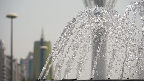 Fountain in Nur-Sultan, capital of Kazakhstan Live Action
