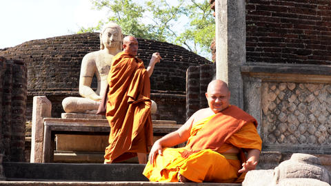 Polonnaruwa, Sri Lanka - 2019-03-23 - Monks On Tour 7 - Posing With Sitting Live Action